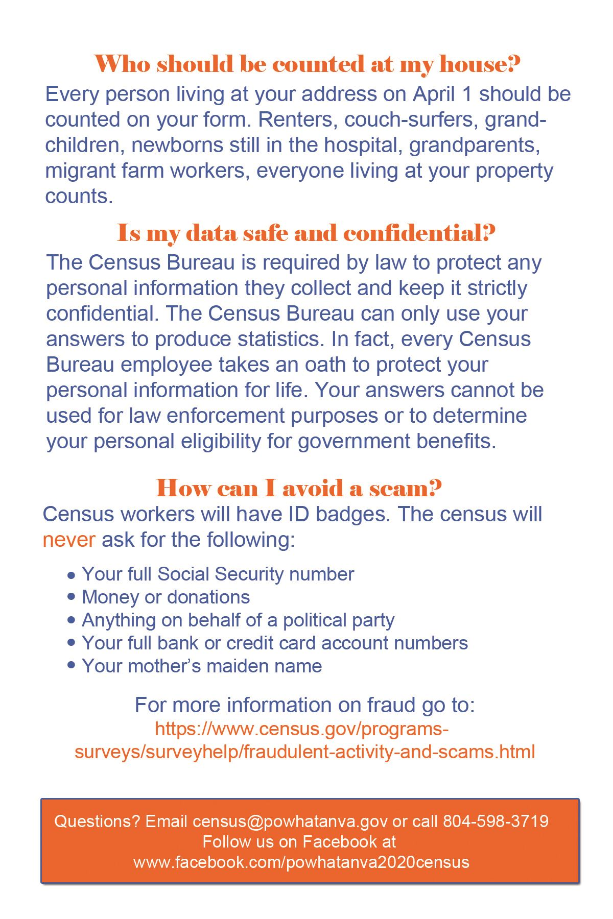 Census FAQ Card -rear